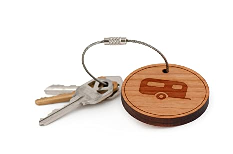 Camper Trailer Keychain, Wood Twist Cable Keychain - Small