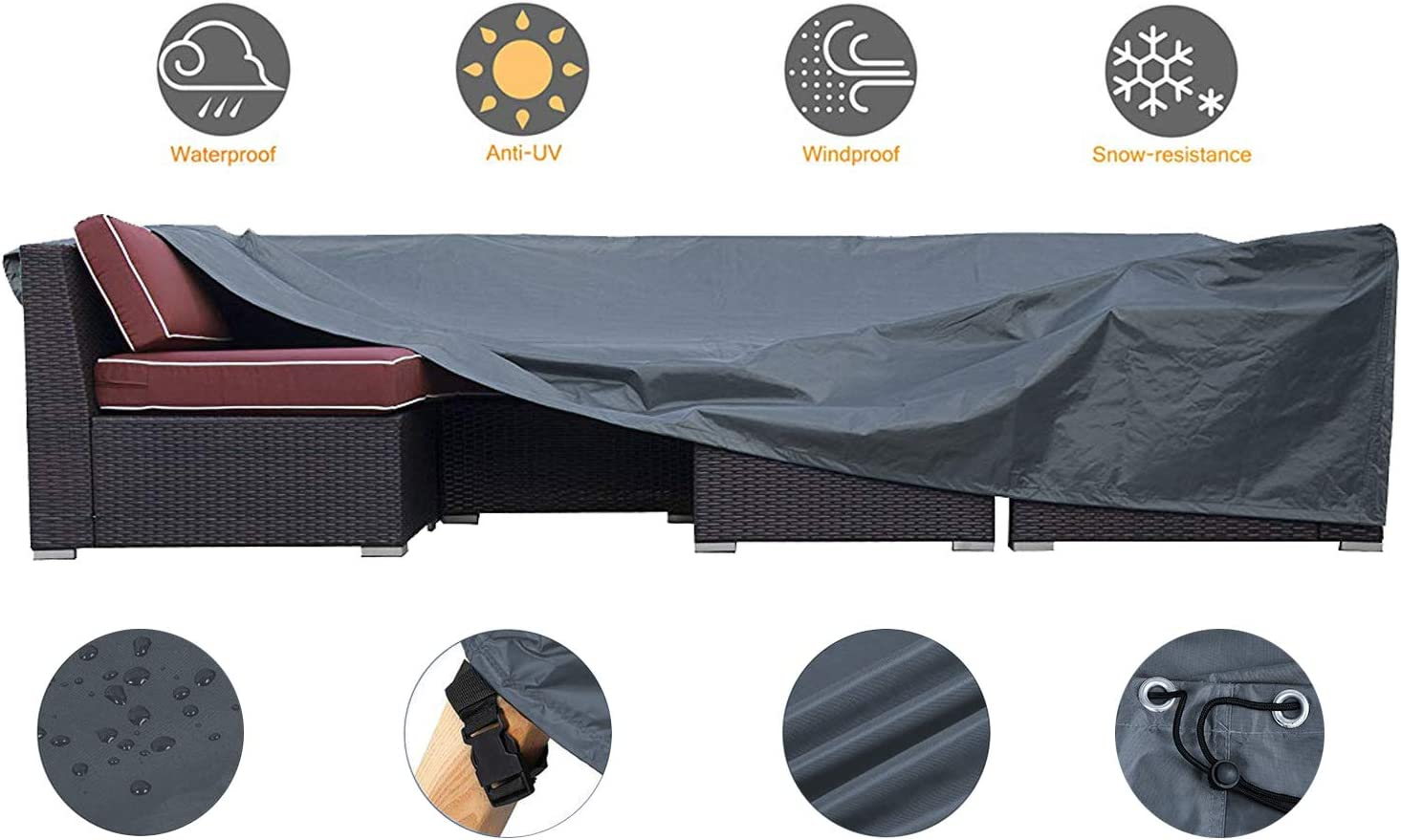 JCGARDEN Patio Furniture Cover, Extra Large Waterproof Outdoor Furniture Cover, Heavy Duty Outdoor Sectional Furniture Couch Cover 126L x 64W x 29H inch