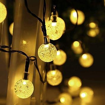 Salcar 10m Guirnalda de luces solares, 40 luces LED Bola Cristal ...