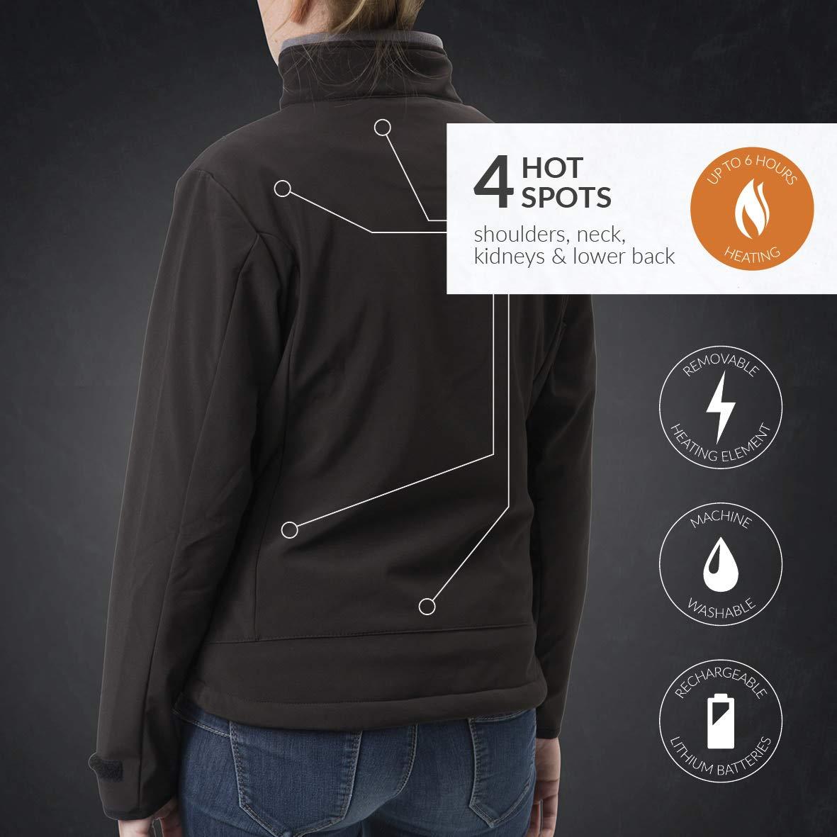 30seven beheizbare Veste Softshell pour Les Femmes Veste chauffante avec Batterie Rechargeable Noir Tailles S /à XXL