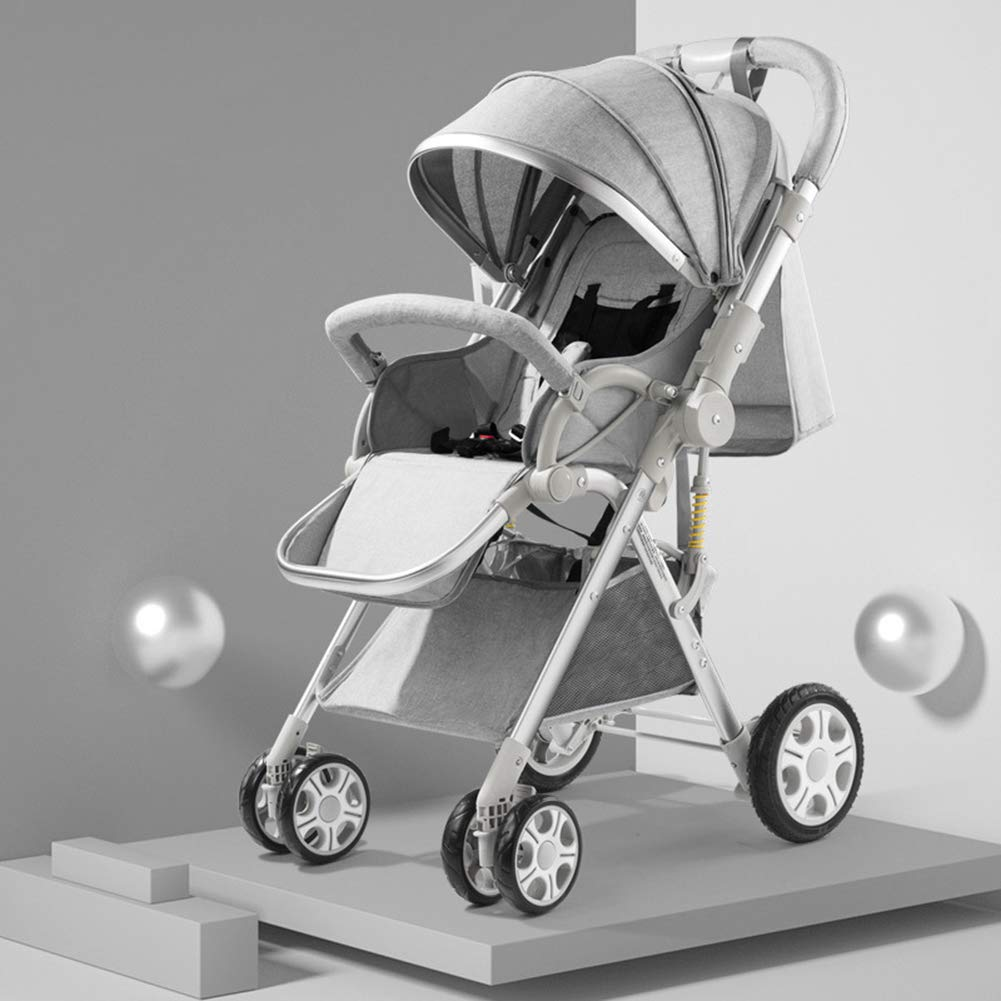 JLPAN Stroller Buggy Baby Child Pushchair Reverse Or Forward with Sunshade Rain Cover Facing Rain Cover Foldable with from 0-36 Months Old Baby,Gray