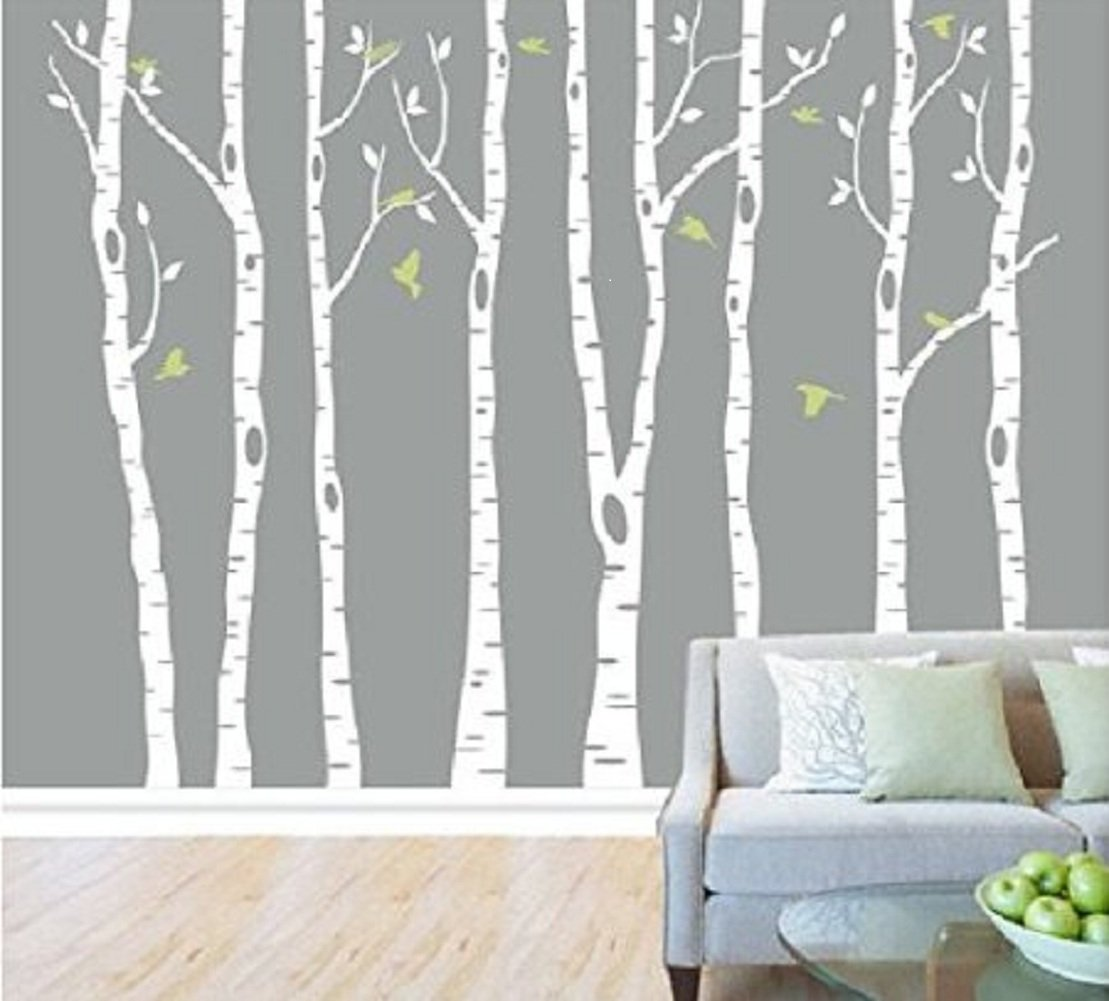 8 Birch Tree Wall Decals with Flying Birds Removable Vinyl Wall Decal Tree Nursery customgift