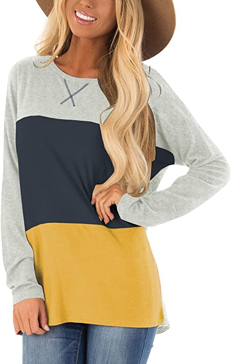 Womens Casual Crewneck Long Sleeve Oversized Sweatshirts Pullover Tunic Tops Loose Split T Shirt Blouses Side Cutout Gray