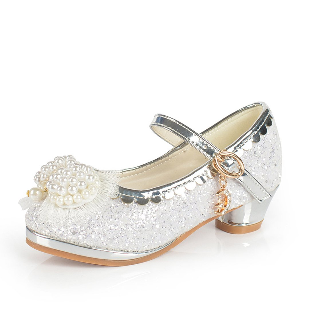 Kids Girls Princess Shoes Bowknot Faux Pearl Mary Jane Wedding Glitter Dance Party Shoes High Heels White Size 11.5 M