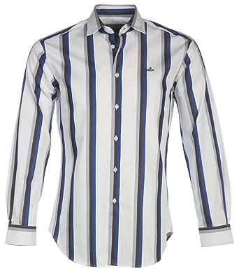aab7dcd168e19 Amazon.com: Vivienne Westwood Men's Bold Stripe Cutaway Shirt Blue ...