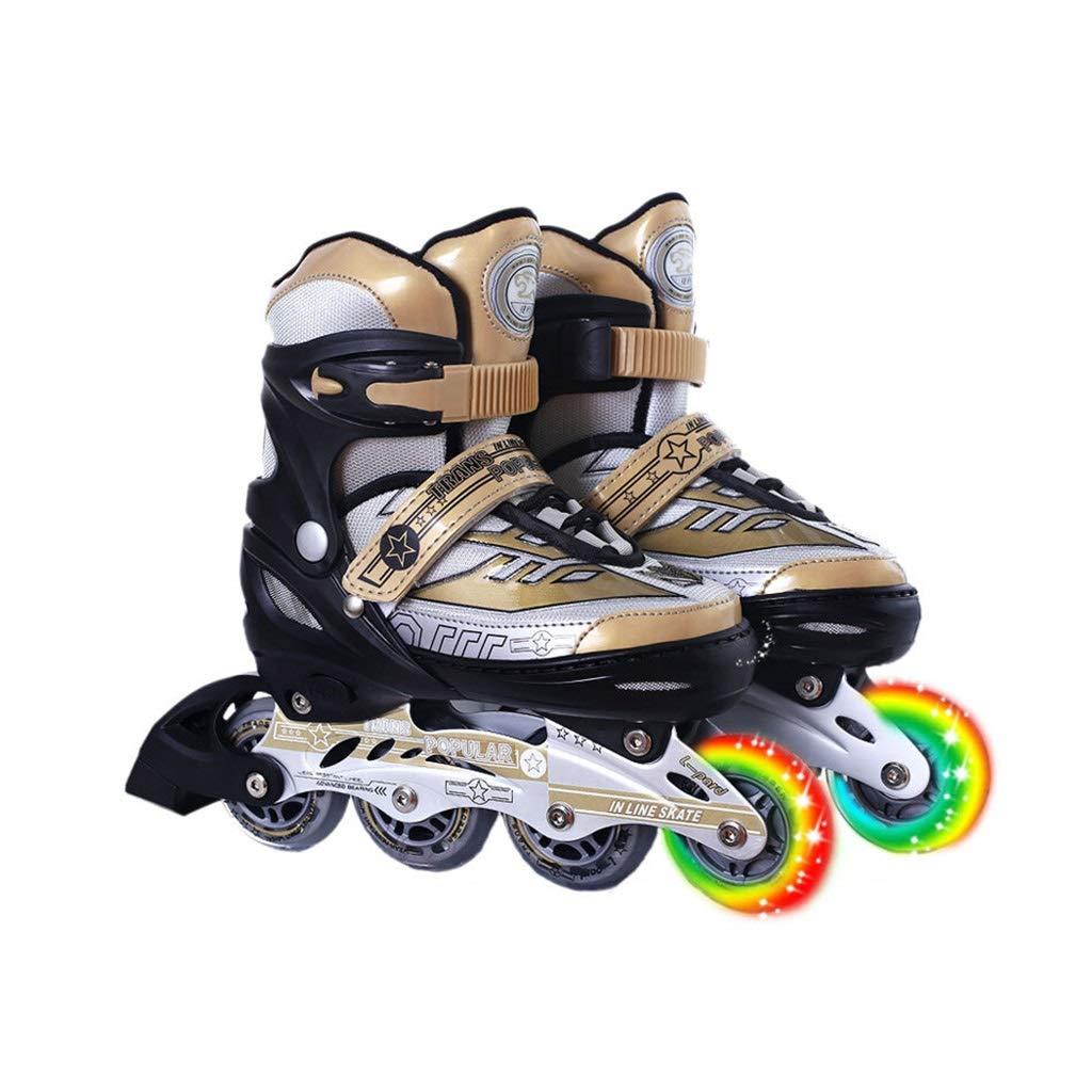 スケートの子供と男性と女性の調整可能なローラースケートのフルセット8ラウンドシングルフラッシュインラインスケート (Size : L(38-41)) L(38-41)  B07SNPQ67H