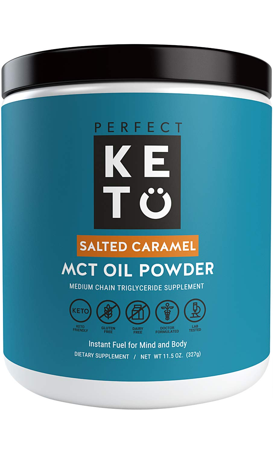 Perfect Keto MCT Oil Powder: Ketosis Supplement (Medium Chain Triglycerides, Coconuts) for Ketone Energy. Paleo Natural Non Dairy Ketogenic Keto Coffee Creamer (Salted Caramel) by Perfect Keto
