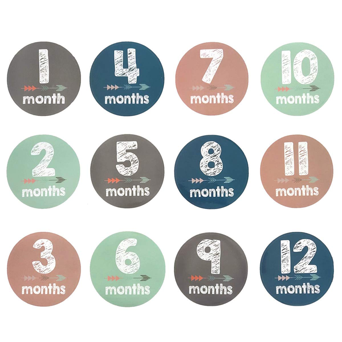 24Pcs//Set Unisex Newborn Milestone Month Stickers First Year Growth and Holidays Photo Prop Keepsake Baby Shower Gift or Photo Studio Scrapbook Posing Props Tool for Infant Baby Monthly Stickers