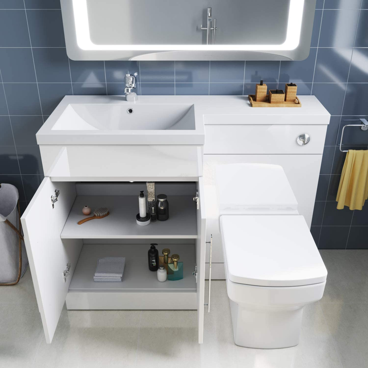 ELEGANT 1100mm Left Hand High Gloss White Vanity Unit /& Back to Wall Toilet Unit with Square Toilet /& Basin