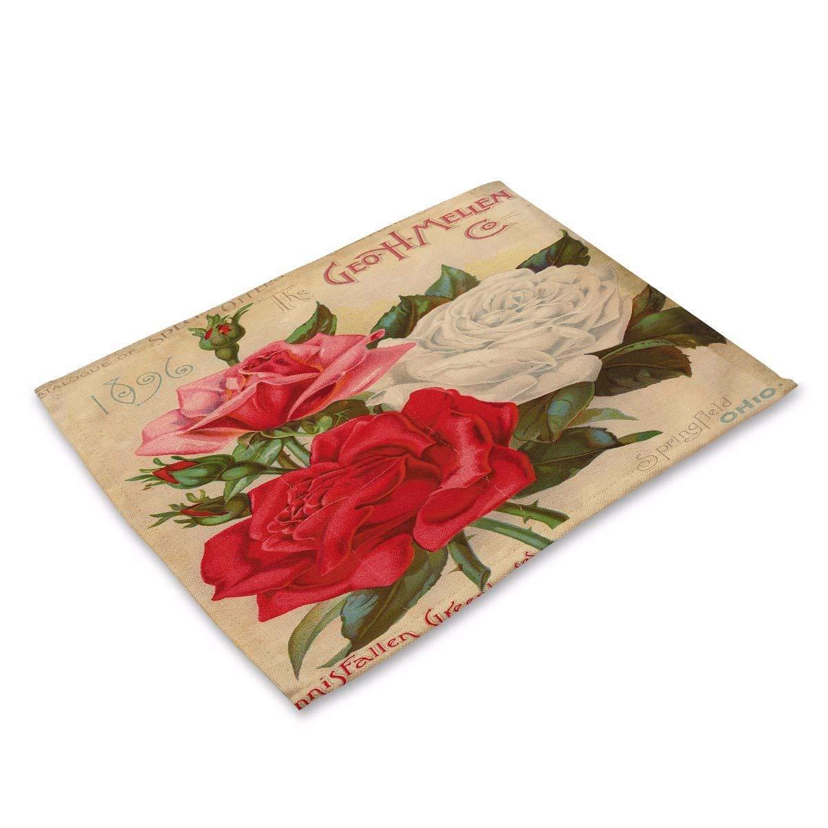 シンプルなスタイルのプレースマット ヴィンテージ 水彩 植物 花 コットン 黄麻布 アート 断熱 ウエスタンパッド A (4パック) テーブルマット   B07HSZCXDY