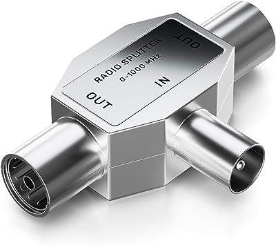 deleyCON de Distribución de Antenas T-Acoplamiento Dos Dispositivos Distribuidor para la Radio Adaptador T Acoplamiento Coaxial Toma Coaxial 2X - ...