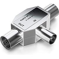 deleyCON Antenne-Splitter T-Koppeling Splitter voor 2 Apparaten voor Radio T-Adapter Coax-Koppeling 2x Coax-Bus Zilver