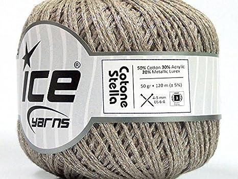 Lote de 6 madejas Ice Cotone Stella (50% algodón), hilo de tejer a mano, color beige y plateado: Amazon.es: Juguetes y juegos
