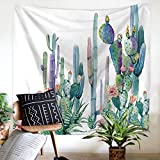 """Shukqueen Tapestry, Cactus Decor Tapestry Wall Hanging Decor Art Home Decor, Green and Purple Watercolor Printed Bedroom Living Room Dorm Wall Hanging Tapestry Beach Throw 60"""" H x 80"""" W"""