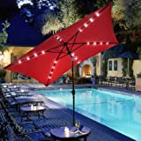 GC Global Direct Rectangular Outdoor Umbrella with Solar LED Lights 10' X 6.5' (Red)