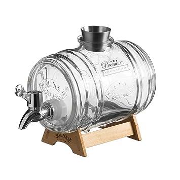 Kilner Glass Barrel Dispenser Set with Tap, Set of 3, Transparent