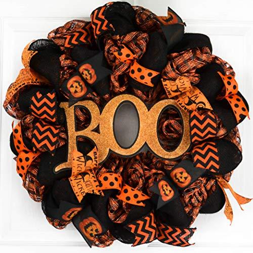 Halloween Door Wreaths | Orange Boo Mesh Welcome Outdoor Front Door Wreath | Black Orange Polka ()