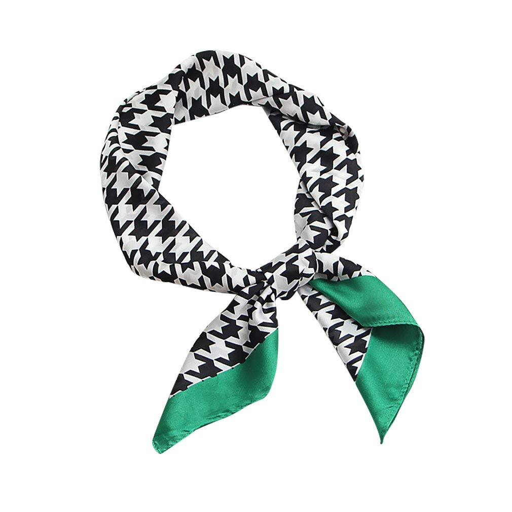GERINLY Simple Houndstooth Print Neckerchief Soft Head Scarf for Sleep (Green)