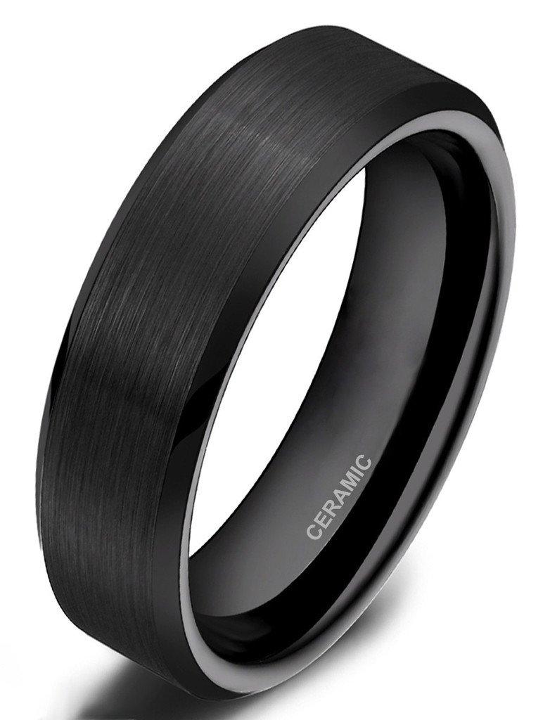 Somen Tungsten 6mm Ceramic Black Brushed Comfort Fit Wedding Ring, 8.5