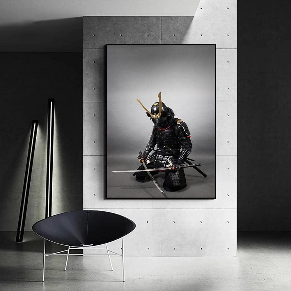 VVSUN Decoración de Pared Samurái japonés con Armadura sosteniendo una Espada samurái Pintura en Lienzo Arte Moderno Sala de Estar Cuadros para el hogar 60x90cm 24x36 Pulgadas Sin Marco