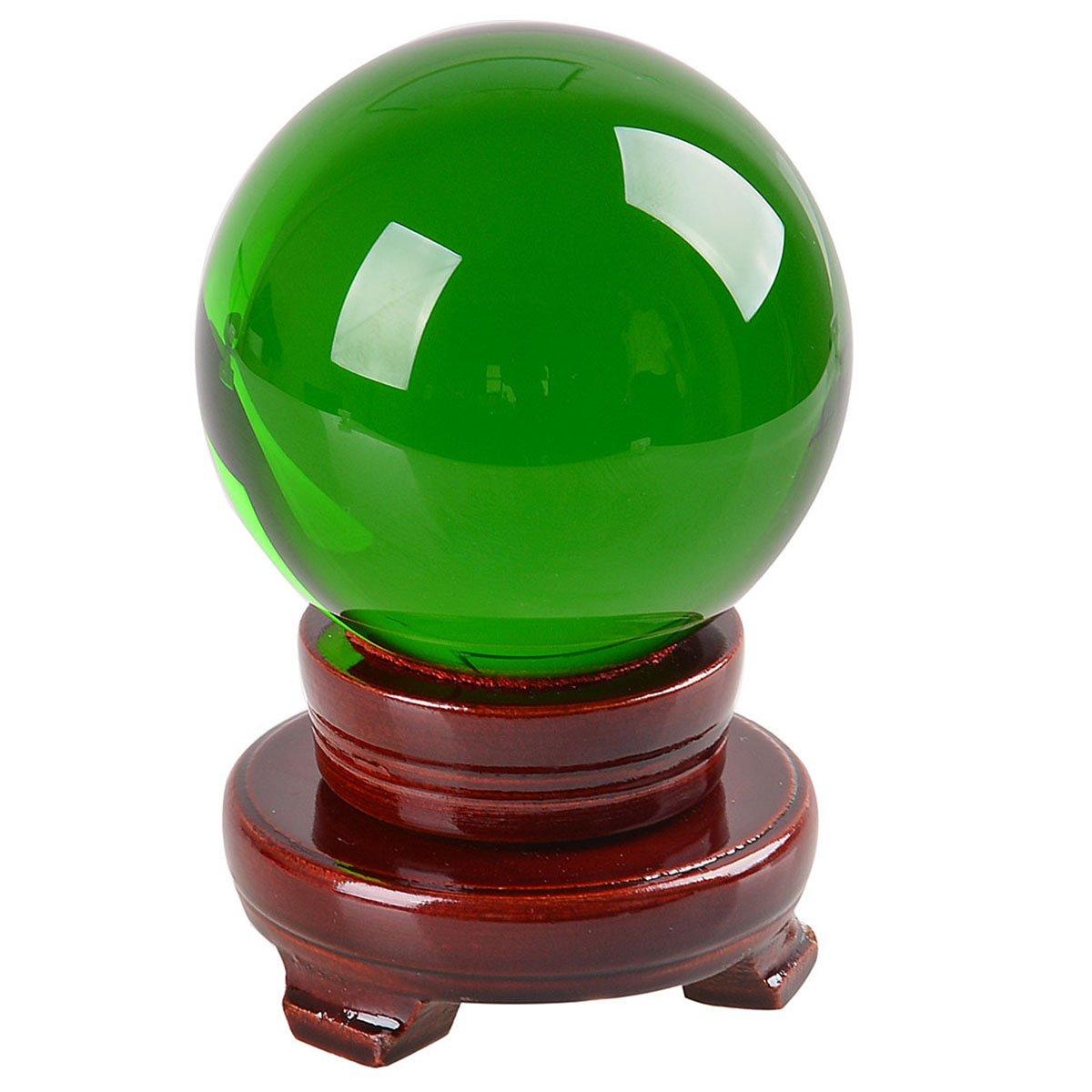 多色透明 水晶玉 150mm クリスタルボール 装飾品 【木製台ギフトボックス】 (绿色) B01MXXO9NB 绿色 绿色