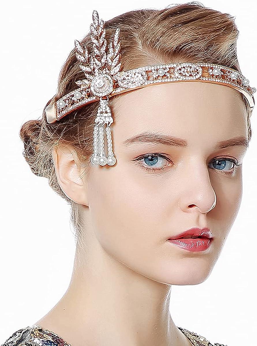 Great Gatsby 1920s Flapper Headband Silver Jewelry Pearl Headpiece Bracelet Ring