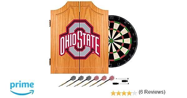 Amazon.com : NCAA Ohio State University Wood Dart Cabinet Set ...