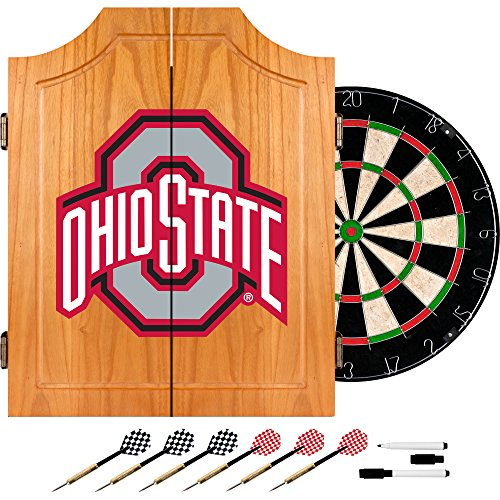 NCAA Ohio State University Wood Dart Cabinet Set by Trademark Gameroom