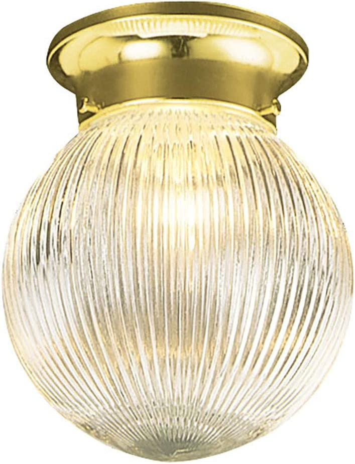 Design House 500629 Millbridge Traditional 1 Indoor Ceiling Mount Globe Light Dimmable for Bedroom Dining Room Kitchen, No Pull Chain, Polished Brass