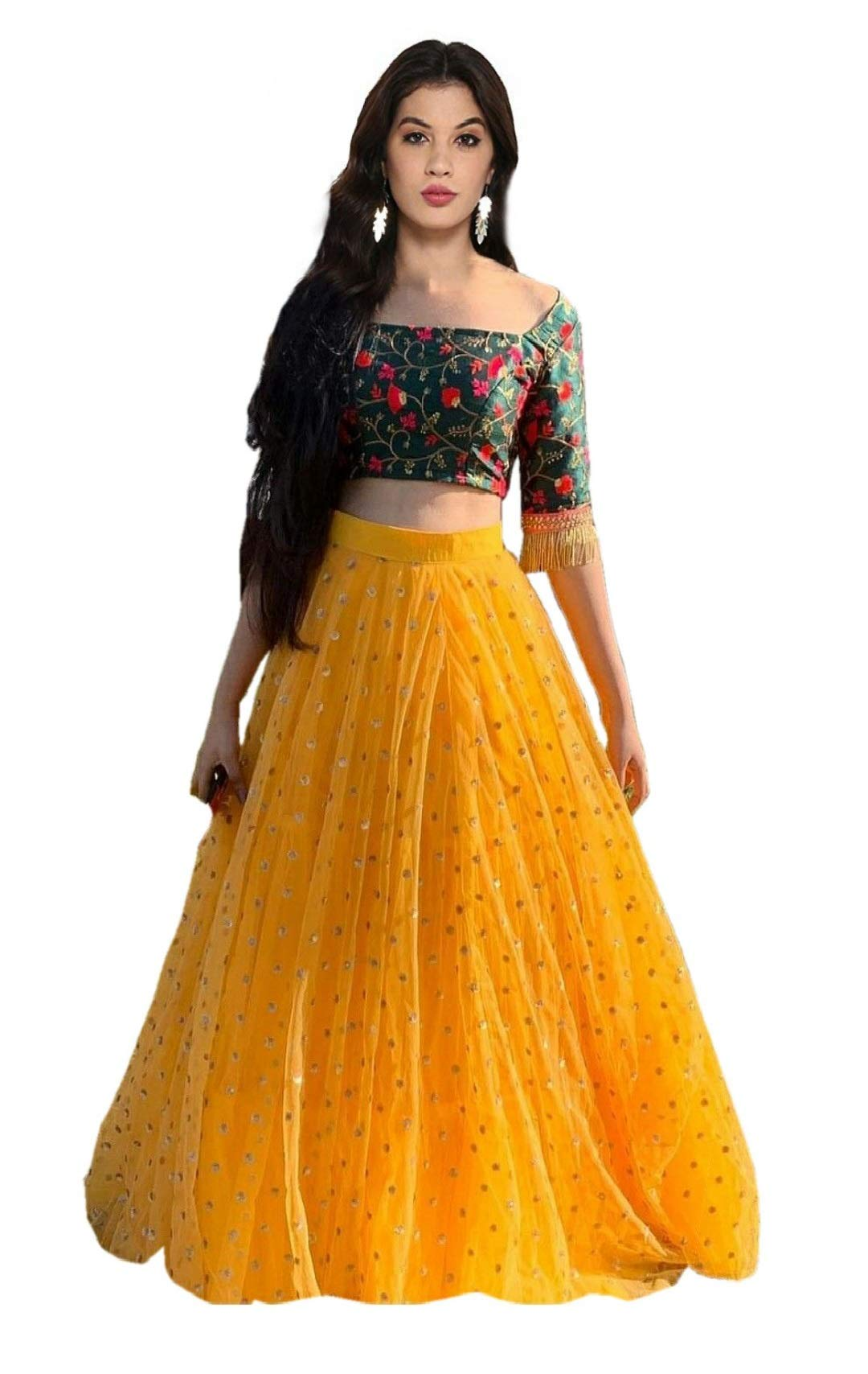 109ef6d4ad Sojitra Enterprise Women's Heavy Net Embroidered Semi Stitched yellow  colour lehenga choli With Blouse Piece (