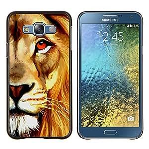 """Be-Star Único Patrón Plástico Duro Fundas Cover Cubre Hard Case Cover Para Samsung Galaxy E7 / SM-E700 ( Pintura de la acuarela del arte del león de Orange"""" )"""