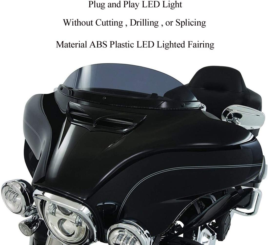 Silver Qlhshop LED Lighted Fairing Intake Trim Vent Accent for Harley Electra Glide 2014-2017