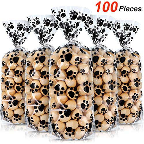 100 Pieces Pet Paw Print Plastic Cellophane Bags Wide Bottom Heat Sealable Treat Candy Bags Dog Cat Gift Bags with 100 Pieces Silver Twist Ties for Pet Treat Party Favor, 11 x 5 x 3 Inch