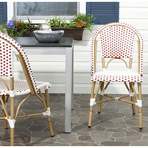 Safavieh Home Collection Salcha Red and White Indoor/Outdoor Stacking Side Chair (Set of 2) by Safavieh