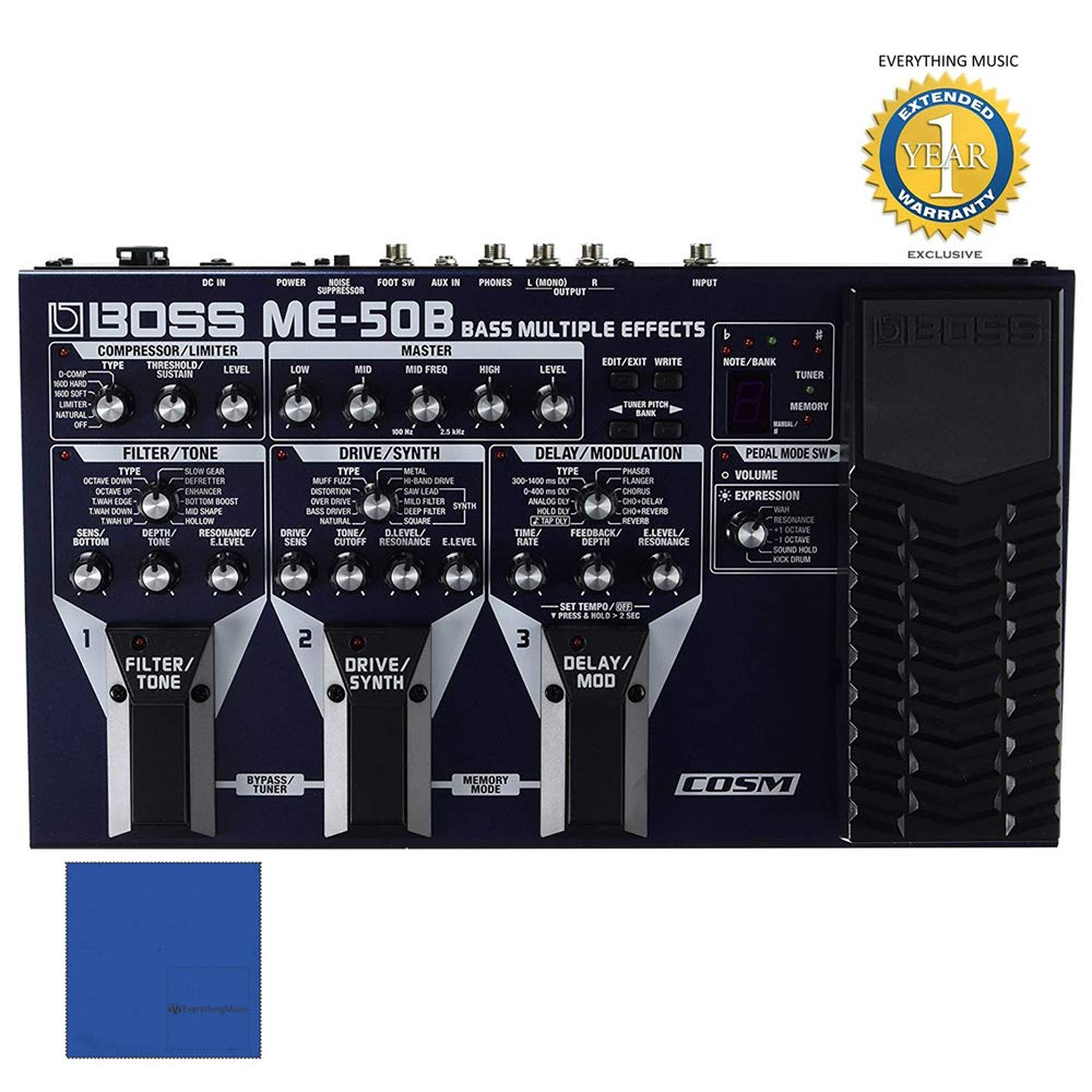 BOSS ME-50B Bass Multiple Effects Processor with Microfiber and 1 Year Everything Music Extended Warranty