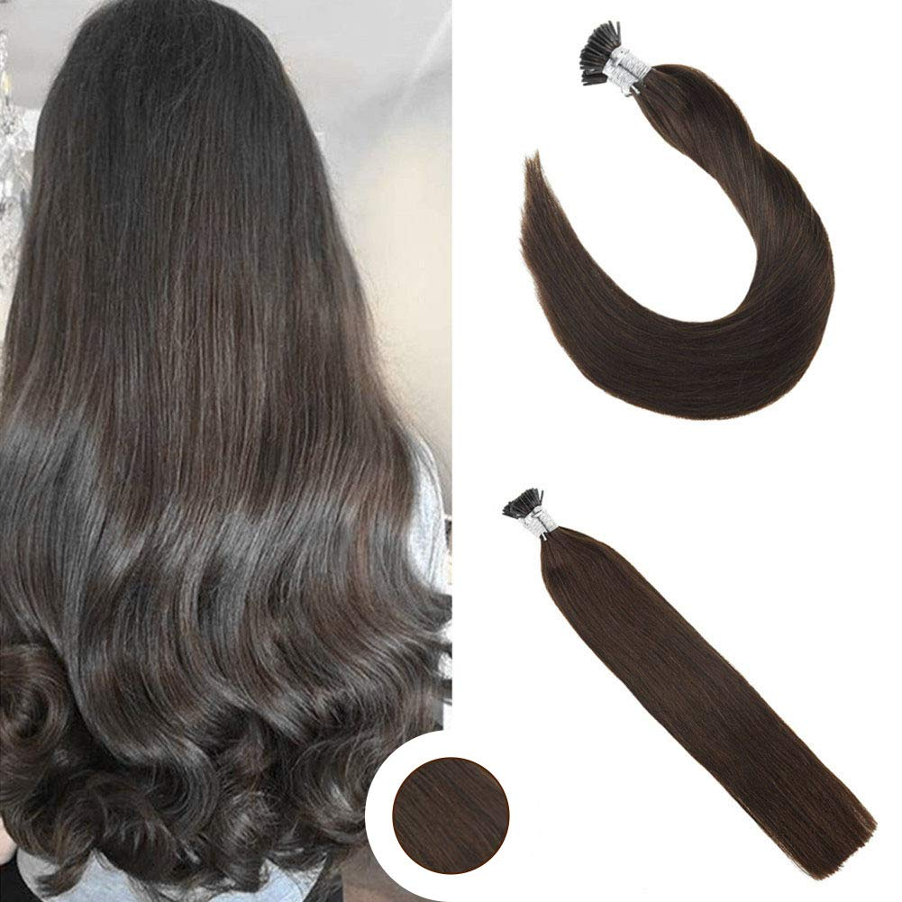 Ugeat 20 Inch Stick I Tip Human Hair Extensions 0.8g/s 50 Strands per Pack Pre Bonded Fusion Hair Extensions Color Brown by Ugeat