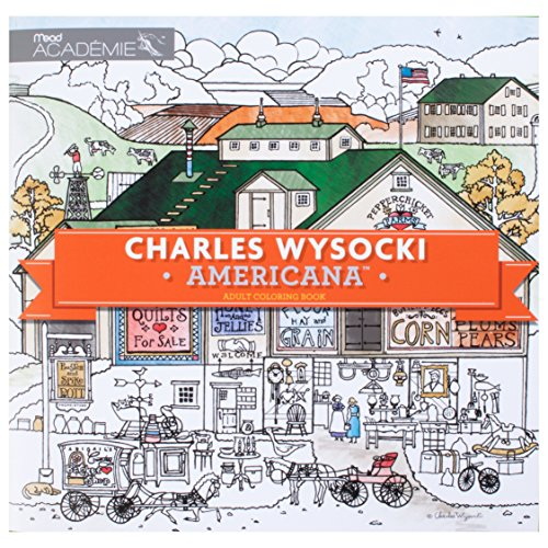 Adult Coloring Book: Charles Wysocki Americana by Mead Academie, Stress Relief, Sketching, Adult Color Books (54014)