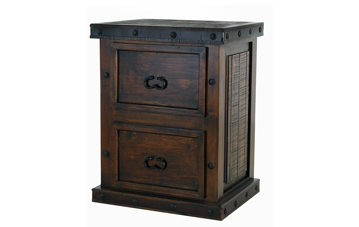 Rustic Gran Hacienda 2 Drawer File Cabinet Solid Wood Lodge Old World