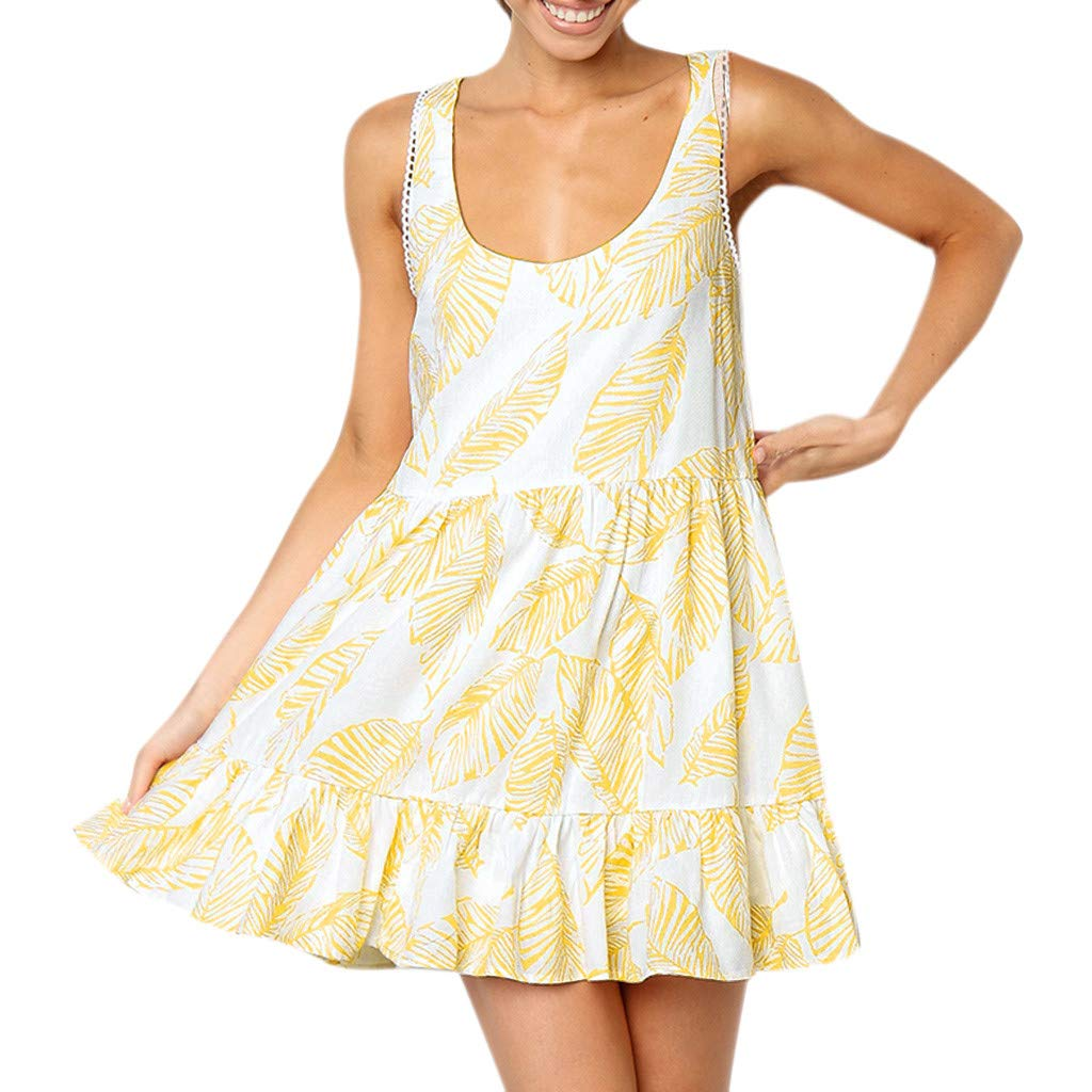 Women Sexy Sleeveless Summer Holiday Leaves Printing Off Shoulder Ruffles Half Sleeve Princess Dress (Yellow,S)