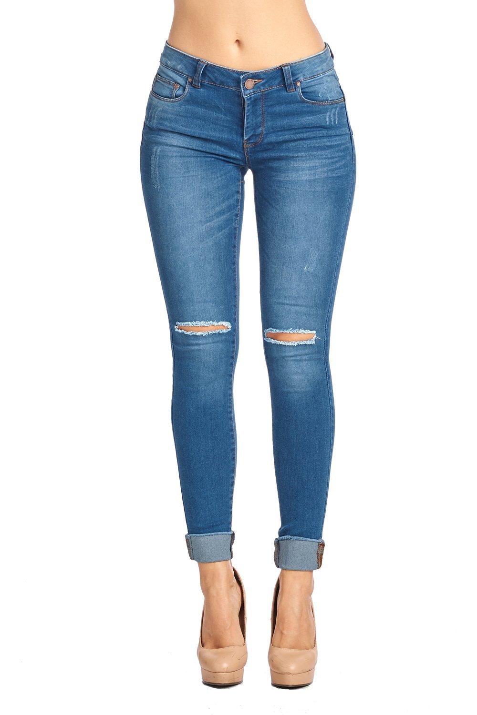 Blue Age Women Destroyed Skinny Jeans (JP1023_DKWASH_1)