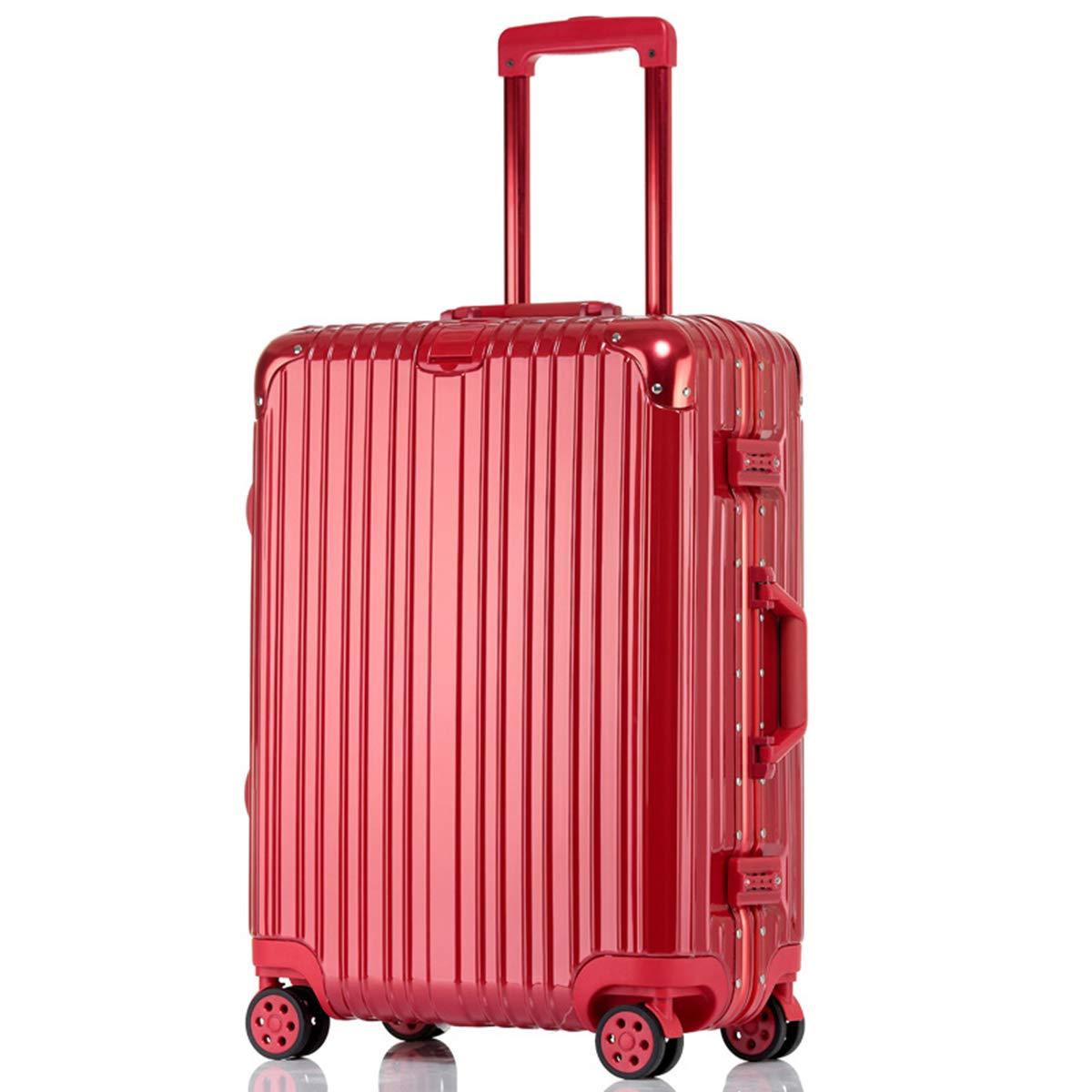 軽量キャビンスーツケースハードシェルABS + PCハンドラゲッジ、360°スピナーホイール&ロックトラベルラゲッジ,26inches,red B07QGS18S5 26inches red