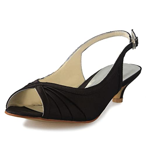 8cdbd862c4f JIA JIA Women s Bridal Shoes 01111 Peep Toe Low Heel Sling Back Satin  Sandals Wedding Shoes