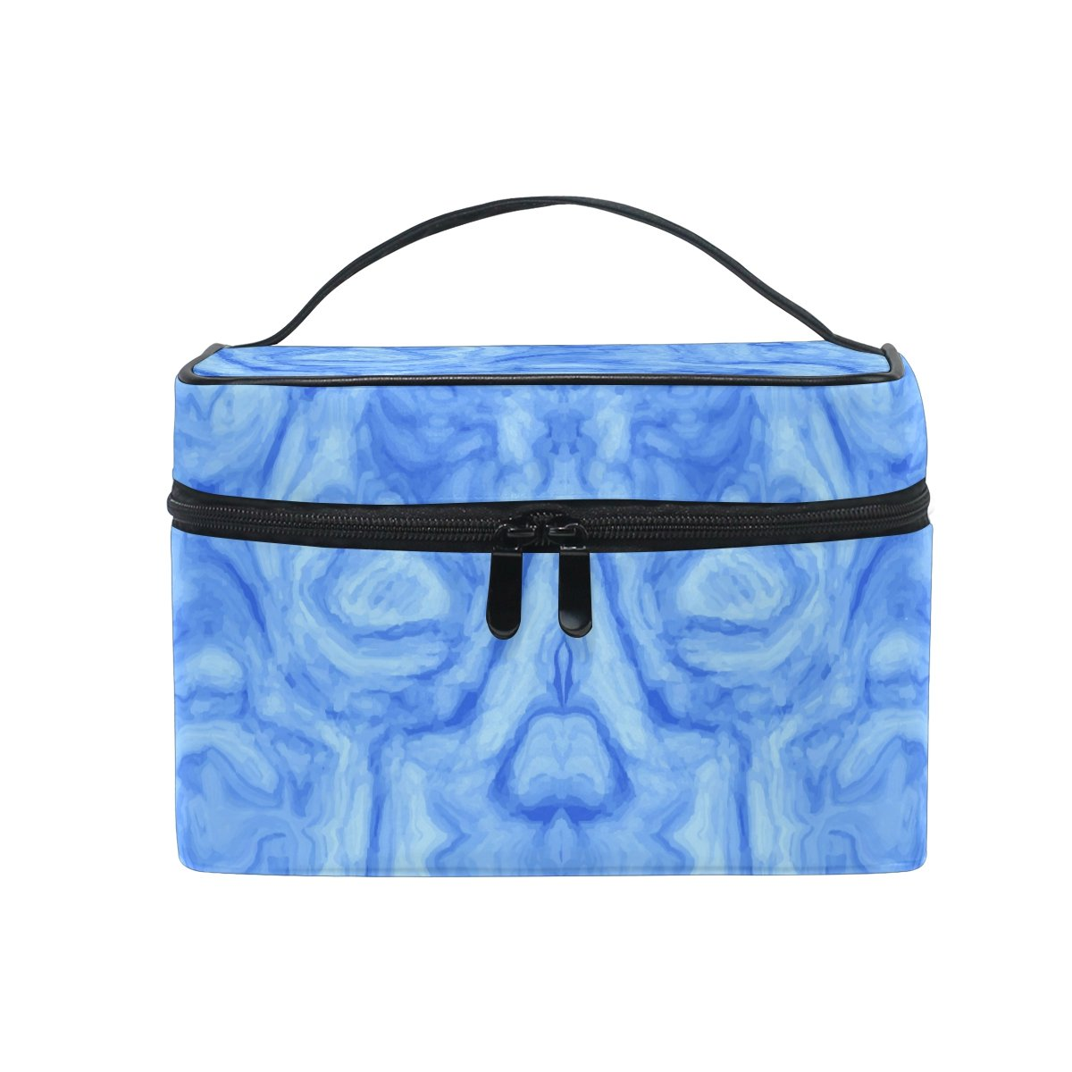 Amazon Com Makeup Bag Blue Abstract Marble Travel Cosmetic