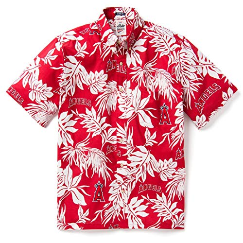 Reyn Spooner Men's Los Angels MLB Classic Fit Hawaiian Shirt, Aloha 2019, Large
