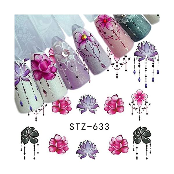WOKOTO 40 Sheets Water Transfer Nail Art Decals With 1Pcs Tweezers Unicorn Flower Feather Nail Wraps Sticker Manicure Kits For Women 5