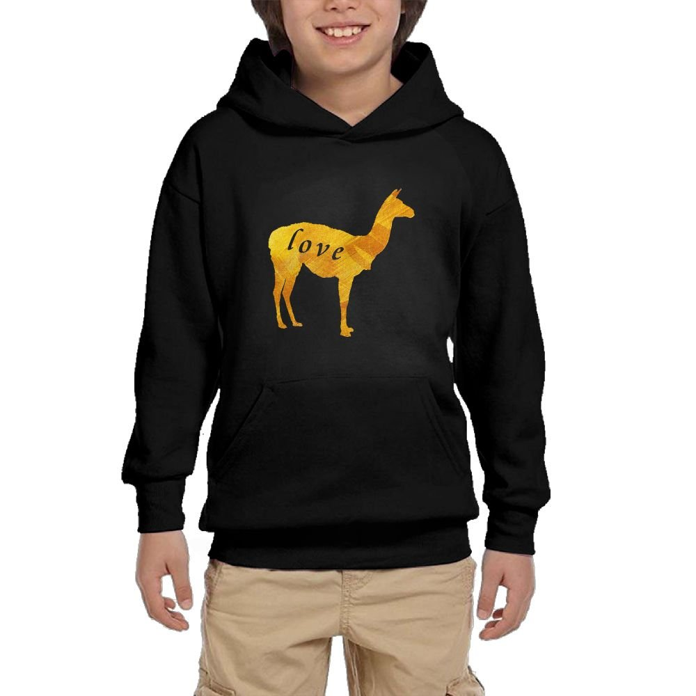 Youth Black Hoodie Llama Love Cute Llama Hoody Pullover Sweatshirt Pocket Pullover For Girls Boys M by Hapli