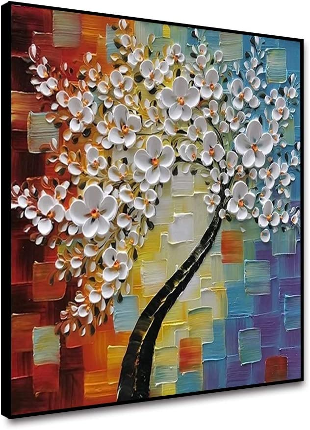 """Musemailer Framed Canvas Wall Art 12""""x12"""" Hand Painted 3D White Flowers Colorful Background Beautiful Blossoms Oil Painting Contemporary Artwork Canvas Printed Poster for Wall Decor Home Office Cafe"""