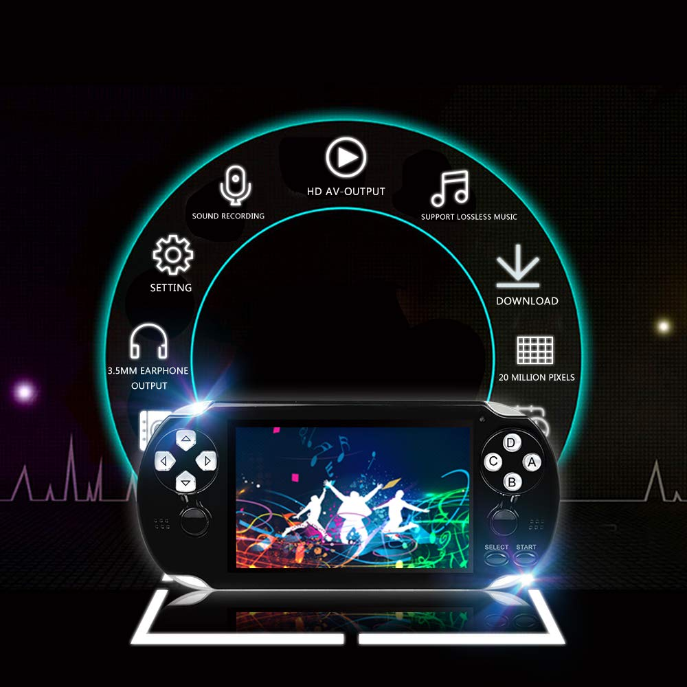 BAORUITENG Handheld Game Console , Retro Game Console with 3000 Classic Games 4.3'' 64 Bit Portable Game Console Support / Camera GBA / GBC / SEGA / NES / SFC / NEOGEO and Loss-Less Music(Black) by BAORUITENG (Image #2)