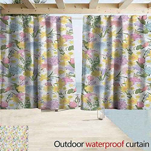 Lcxzjgk Spring Custom Outdoor Curtain Valley Flowers Medley of Lilly Hydrangea Pin Cushion Protea Gardenia and Tulips for Patio/Front Porch W72 xL63 Multicolor ()