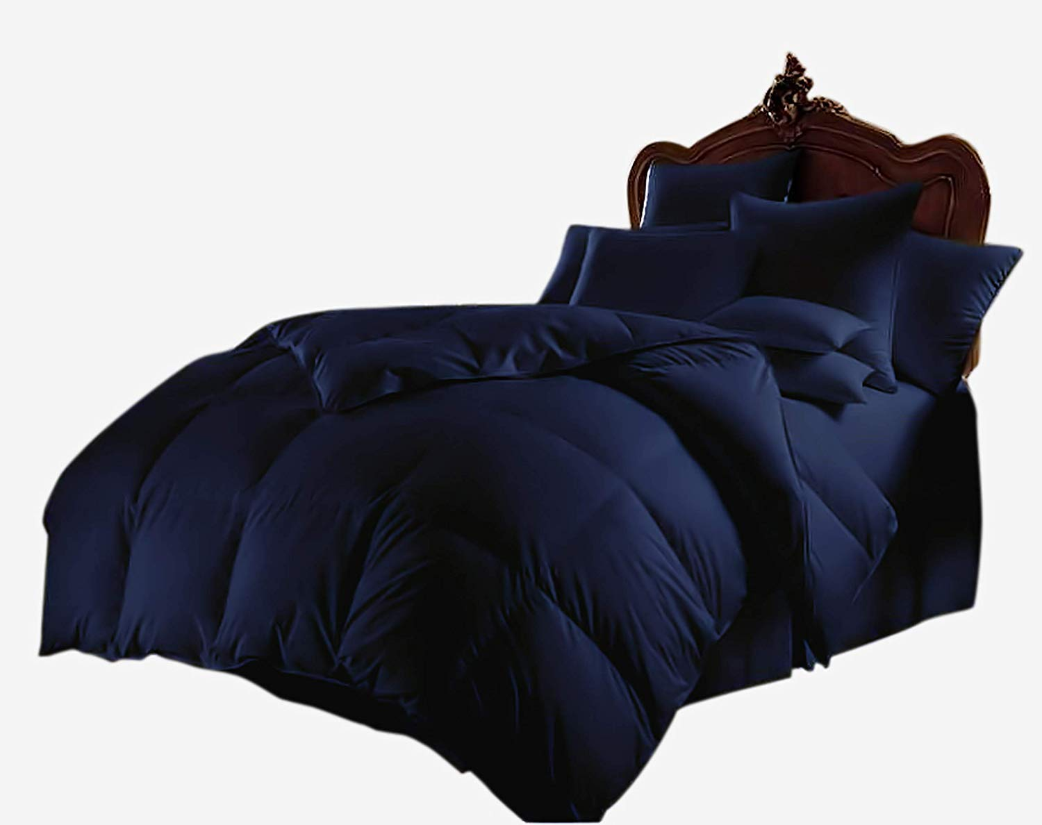 All Season Luxurious 800 Series,Luxury Goose Down Alternative Comforter, Oversize-Queen Size - Quilt 3 Pc Comforter -100% Egyptian Cotton Comforter Set, Hotel Quality 600 GSM,Navy Blue, (90''x98'') by Bellacasa creations